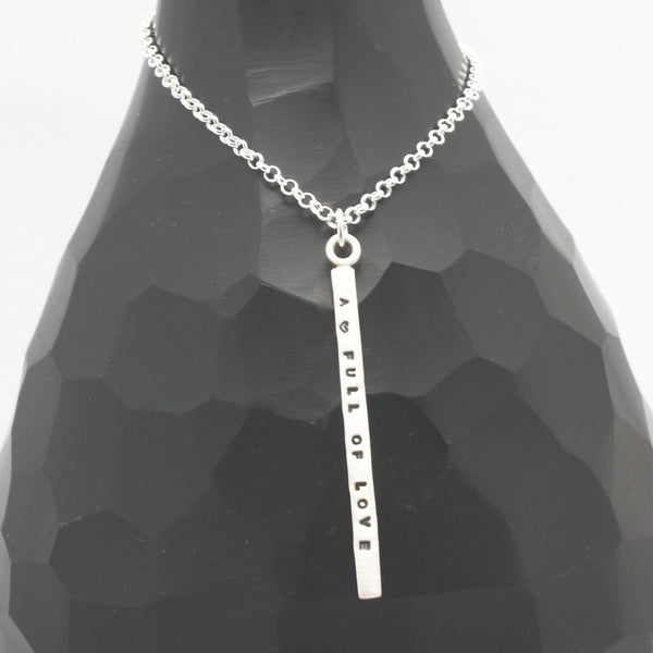 1 LONG Bar - 3mm Sterling Silver Vertical Pendant Necklace