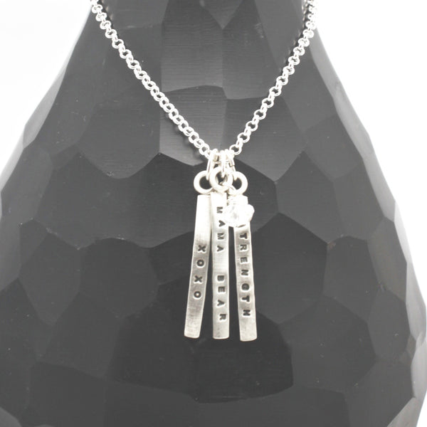 3 SHORT Bars - 3mm Sterling Silver Vertical Pendant Necklace
