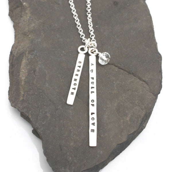 LONG & SHORT Bar - 3MM Sterling silver Vertical Pendant Necklace