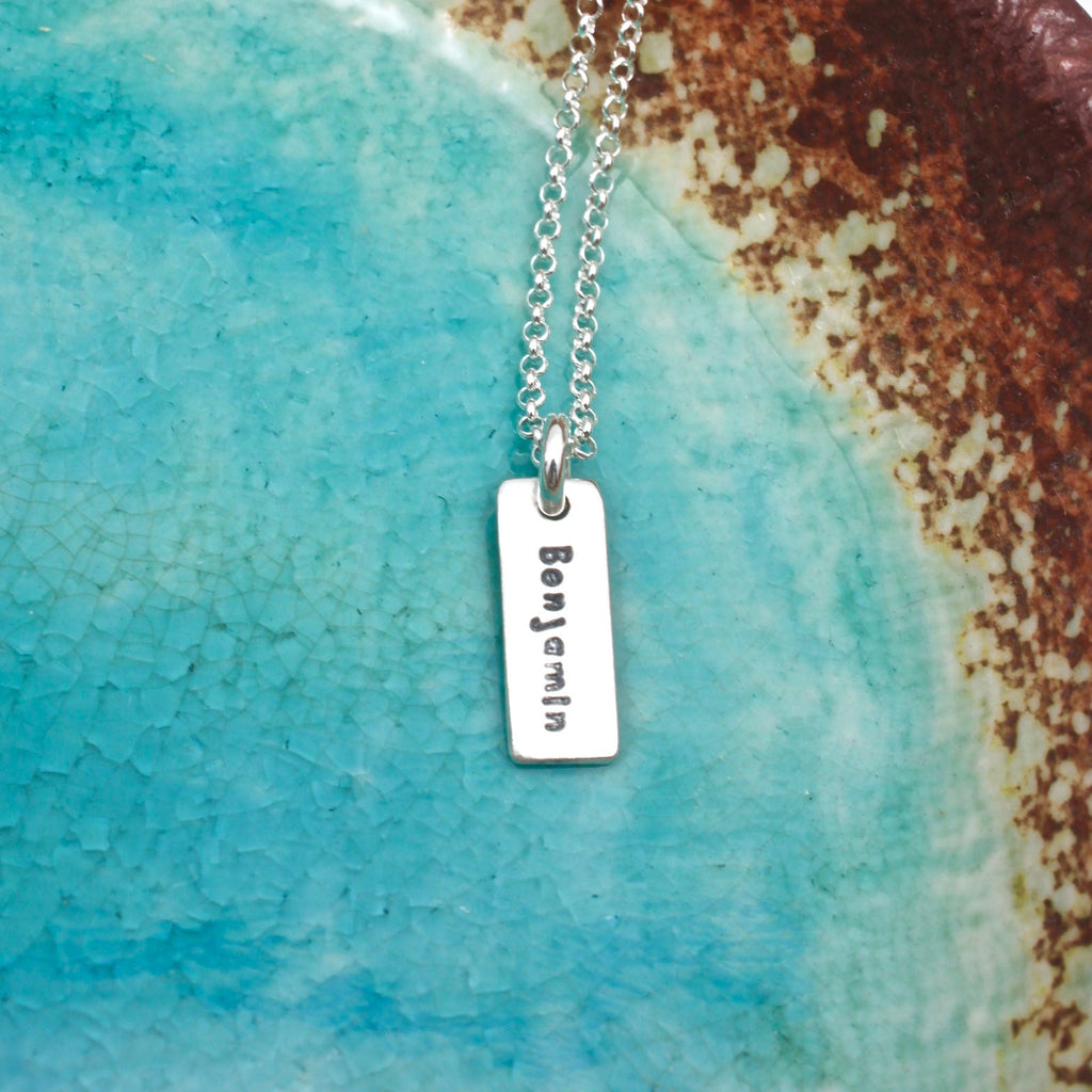 Single Name Rectangle Pendant Necklace