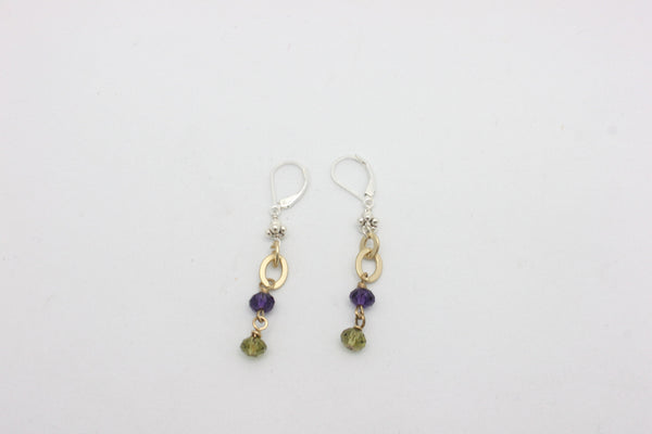 Velvet Purple & Olive Green Swarovski Crystal Matte Gold Earrings