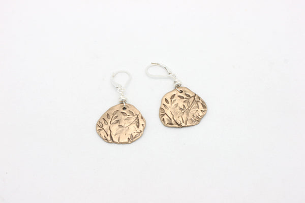 Leaves in Freeform Bronze Earrings