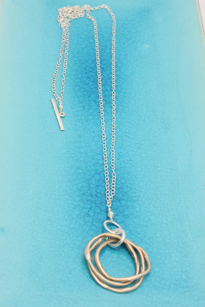 Triple Bronze Link Pendant Necklace with 2 in 1 Chain
