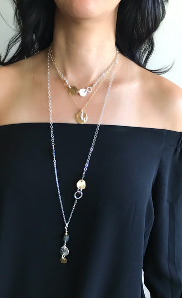 Molten Collection: Molten Bronze Medallion & Silver Stack Necklace