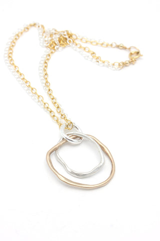Bronze & Fine Silver Large Entwined Cloud Link Pendant Necklace