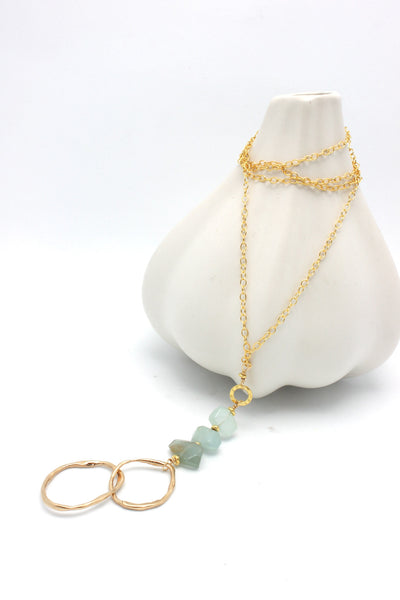 Aquamarine Stone & Bronze Double Link Gold Necklace