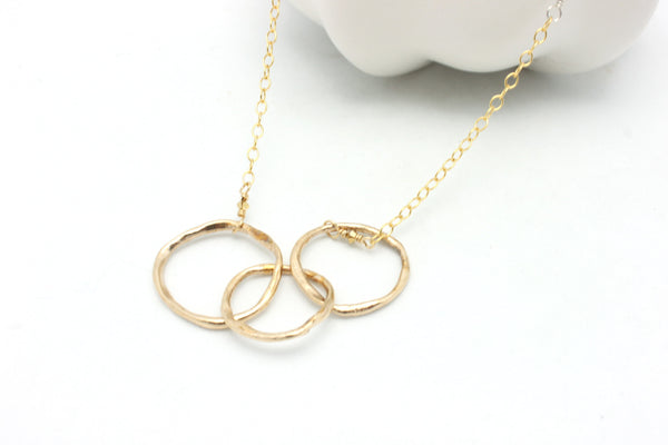 Triple Bronze Link Necklace with Mixed Metal Chain
