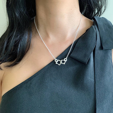 Contour Collection: Squared Silver Linked Short Necklace