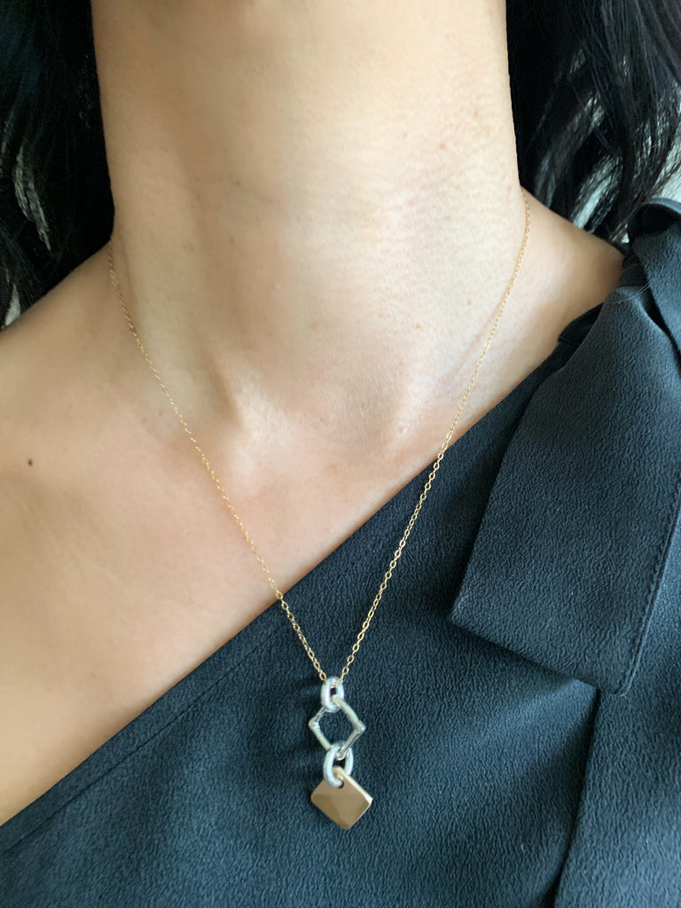 Contour Collection:  Bronze Diamond Pendant and Silver Link Short Necklace