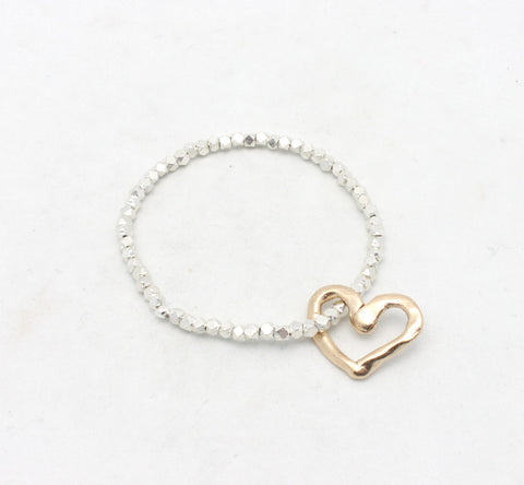 Bronze Heart and Fine Silver Stretch Bracelet