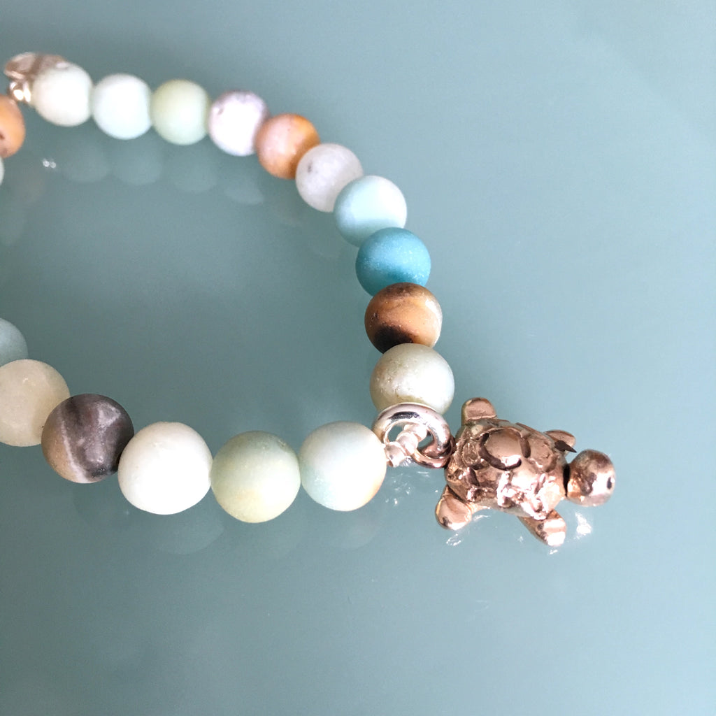 Bronze Turtle Charm & Amazonite Beaded Stretch Bracelet