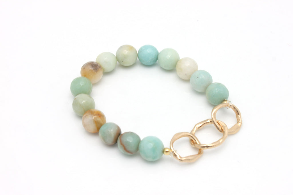 SOUL Collection Amazonite Stone & Bronze Link Stretch Bracelet - Customized Word Charm