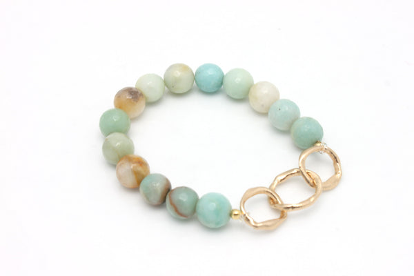 Amazonite Stone & Entwined Bronze Links Stretch Bracelet