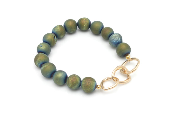 SOUL Collection Golden Teal Druzy Stone & Bronze Link Stretch Bracelet - Customized Word Charm