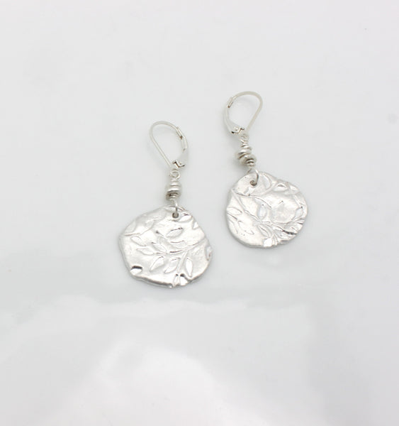 Fine Silver Random Leaf Freeform Earrings