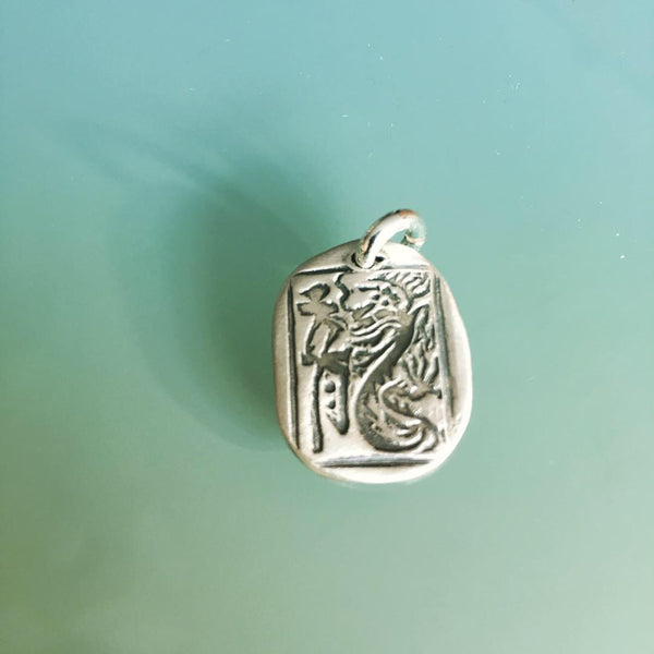 Custom Dragon Stamped Fine silver pendant