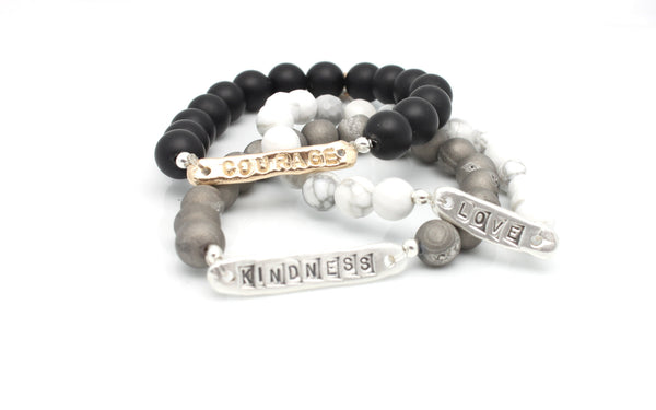 """Courage  Love  Kindness"" Stretch Bracelets"