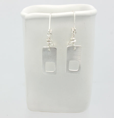Fine Silver Cutout Rectangle Earrings