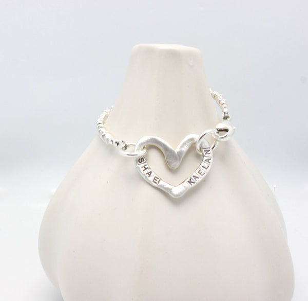 Fine Silver Large Heart Personalized Bracelet