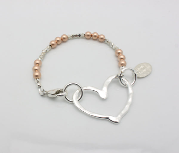 Fine Silver Open Heart & Rose Gold Beaded Bracelet