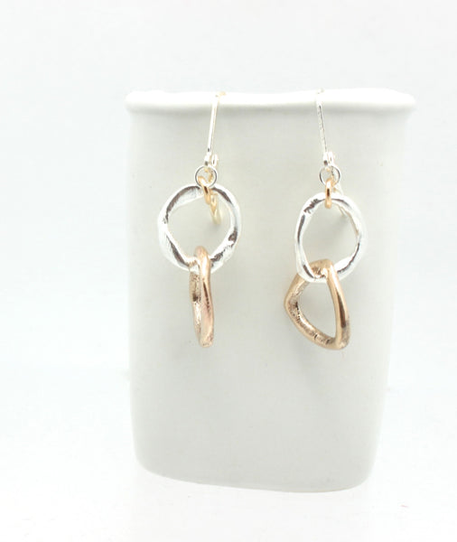 LINKS Collection - Entwined Bronze & Fine Silver Chunky Earrings