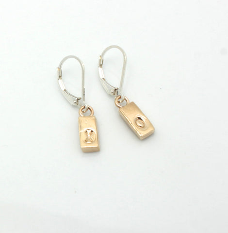 X O Bronze Bar Earrings