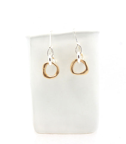 LINKS Collection - Bronze Petite Hoops with Sterling Silver Link