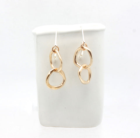 LINKS Collection - Entwined Petite Bronze Link Earrings