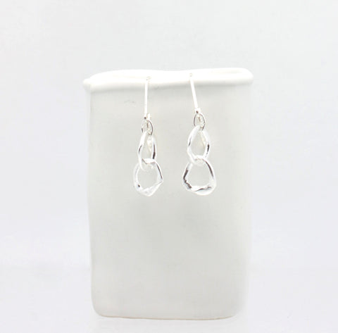 LINKS Collection - Petite Entwined Fine Silver Link Earrings