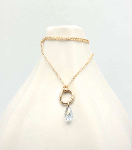 Bronze & Clear Blue Briolette Necklace