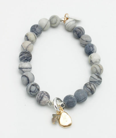 Jasper Line Silk Stone Stretch Bracelet & Pebble Charm