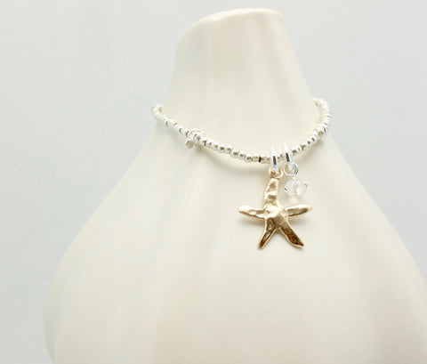 Starfish Bronze Pendant and Fine silver Beaded Bracelet
