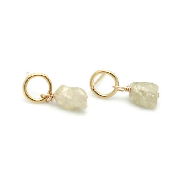 GOLD Elements:  Raw Sage Sapphire Earrings