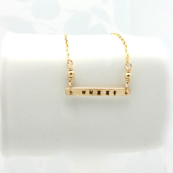GRAD MMXXI (2021) Collection:  14 kt gold filled Bar Necklace
