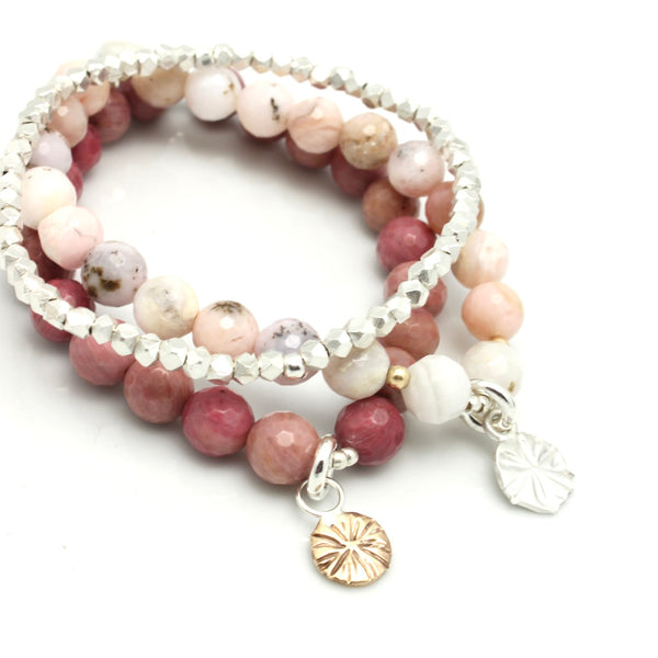 LUNA Collection:  Pink Rhodonite Estrella Bronze Stretch Bracelet