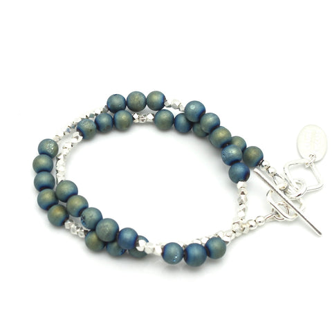 Golden Teal & Blue Druzy Quartz & Fine Silver Double Wrap Bracelet