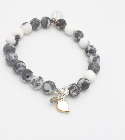 Arctic Blossoms: Marbled Snow Agate Stretch Bracelet