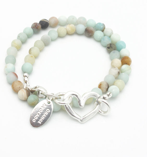 Amazonite Double Wrap Bracelet with Fine silver Heart