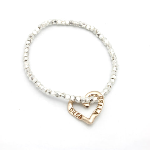 Personalized Bronze Heart & Fine Silver Beaded Bracelet