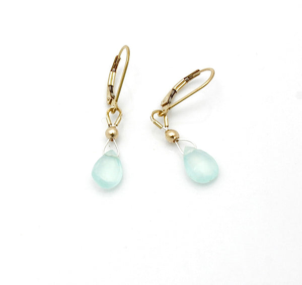 Inner Spirit: Aqua Chalcedony Briolette Earrings