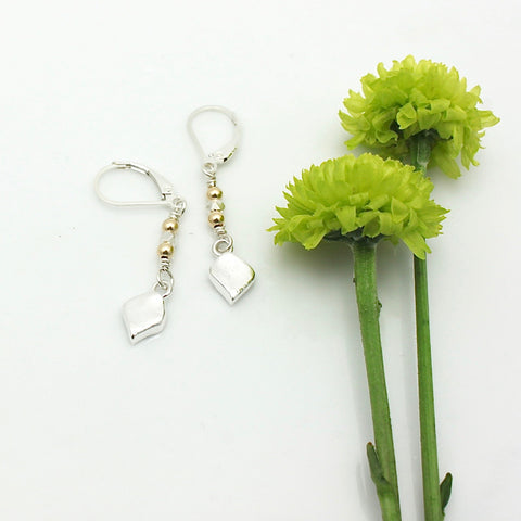 Arctic Blossoms:  Fine Silver Petite Leaf Earrings