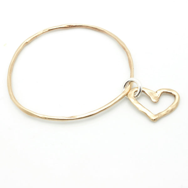 Bronze Bangle & Bronze Open Heart
