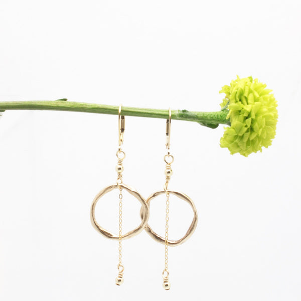 Arctic Blossoms: Bronze Link & Chain Earrings