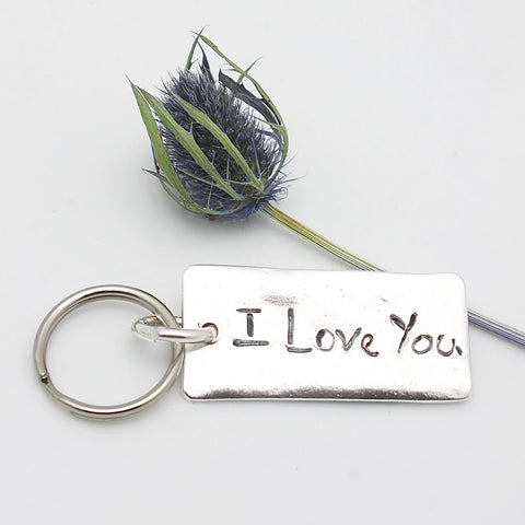 LARGE Fine silver Rectangle Key Chain Pendant