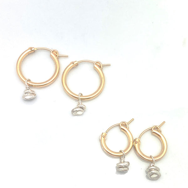 GOLD Elements:  Petite MOD Gold Hoops & Silver Charm