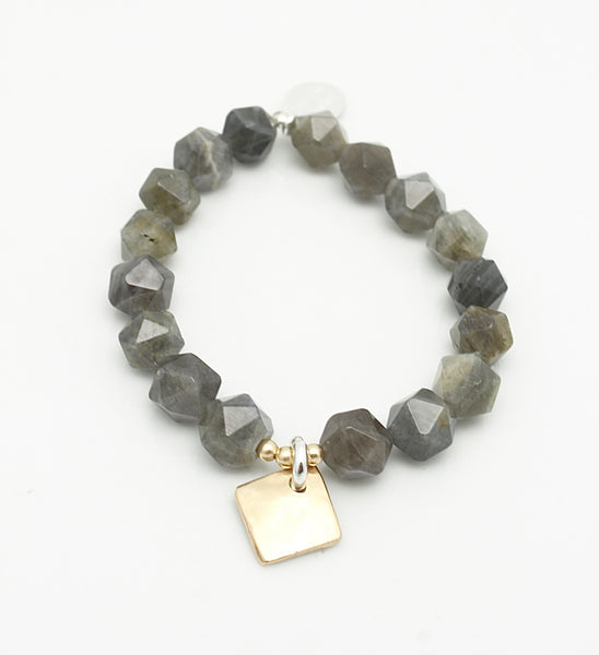Contour Collection:  Labradorite Starcut Stretch Bracelet & Bronze Diamond Pendant