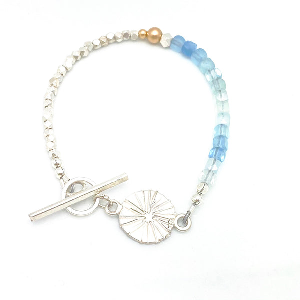 LUNA Collection: Estrella Aquamarine & Fine Silver Toggle Bracelet