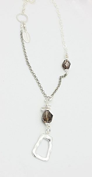SCULPT Collection: 4 Corner Chain & Smokey Quartz Necklace - Long