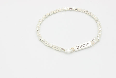 Single Bar Fine Silver Stretch Bracelet