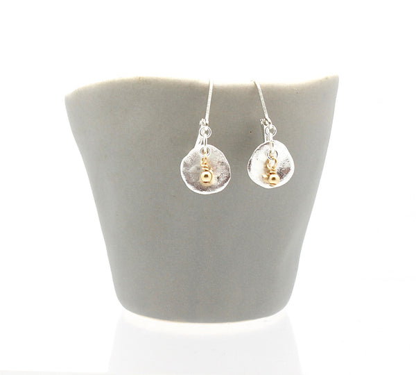 Arctic Blossoms:  Gold Bead Aura Earrings